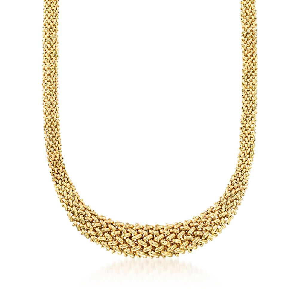 5761c1a493c02 Italian 14kt Yellow Gold Graduated Riso Necklace | Ross-Simons