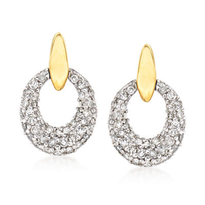 .40 ct. t.w. Diamond Doorknocker Drop Earrings in 14kt Two-Tone Gold