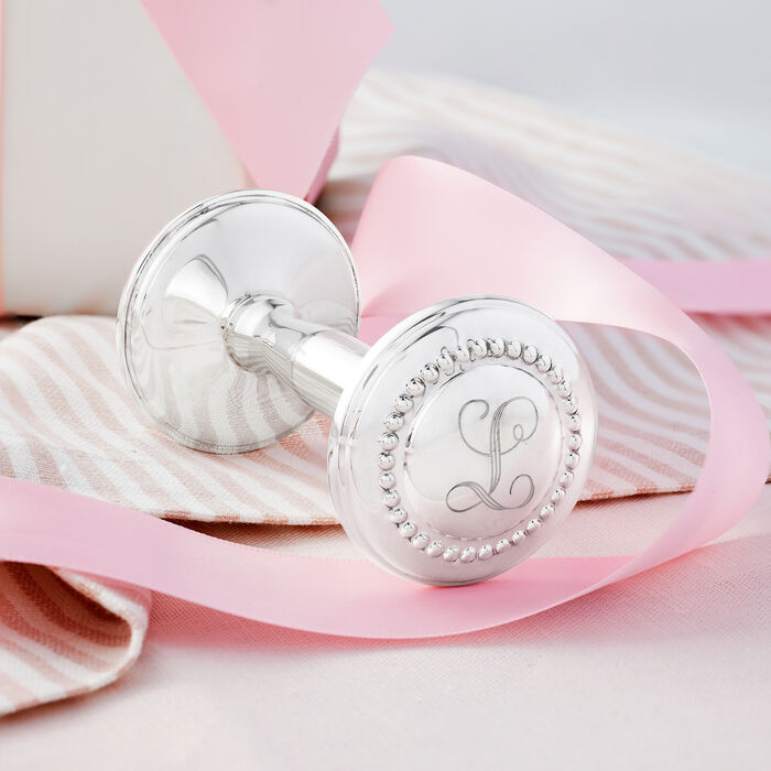 Empire Baby's Sterling Silver Single Initial Rattle with Beaded Finials