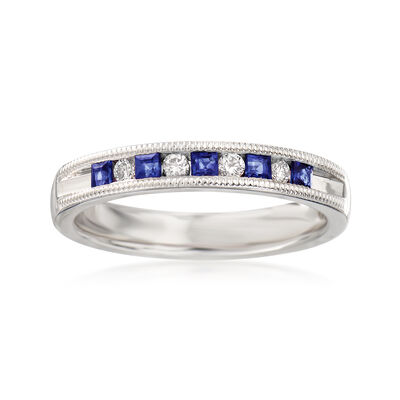 .20 ct. t.w. Sapphire and .10 ct. t.w. Diamond Ring in 14kt White Gold, , default