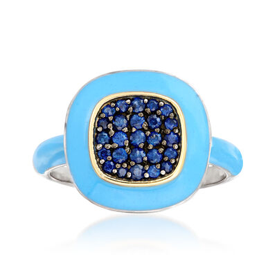 .40 ct. t.w. Sapphire and Blue Enamel Ring in Sterling Silver and 14kt Yellow Gold