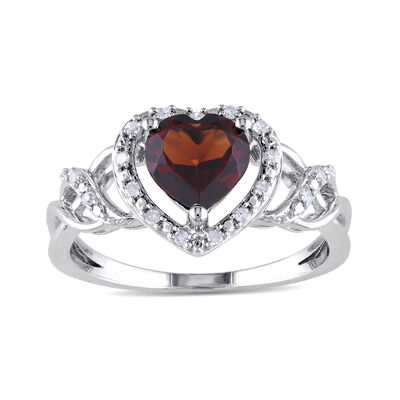 1.40 Carat Garnet Heart Ring with Diamond Accents in Sterling Silver
