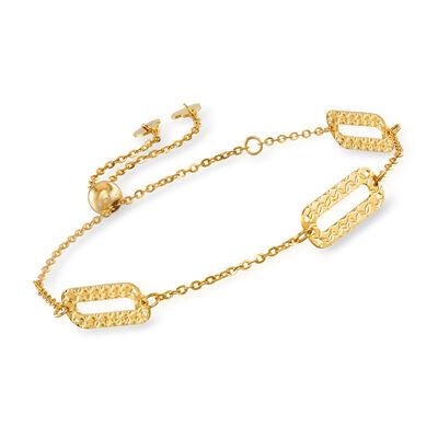 Italian 14kt Yellow Gold Paper Clip Link Bolo Bracelet