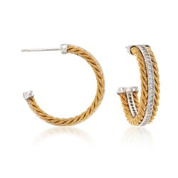 """Italian .70 ct. t.w. CZ Roped Hoop Earrings in Two-Tone Sterling Silver. 1"""", , default"""