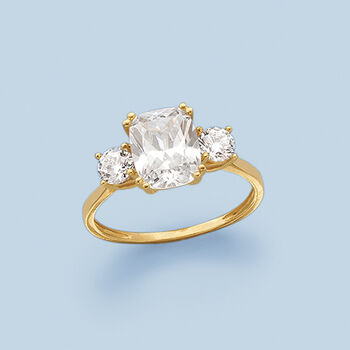 3.50 ct. t.w. CZ Royal-Inspired Engagement Ring in 14kt Yellow Gold, , default