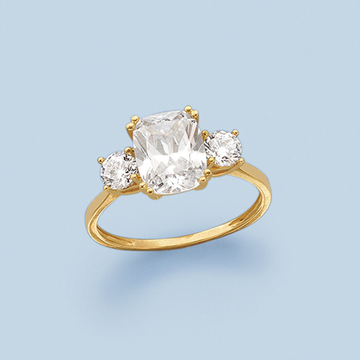 3.50 ct. t.w. CZ Three-Stone Ring in 14kt Yellow Gold