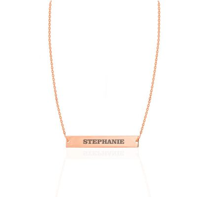 14kt Rose Gold Engravable Bar Choker Necklace, , default
