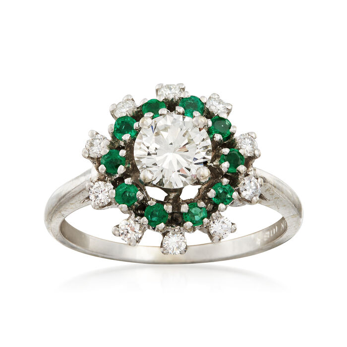 C. 1990 Vintage .85 ct. t.w. Diamond and .30 ct. t.w. Emerald Ring in 14kt White Gold. Size 6, , default