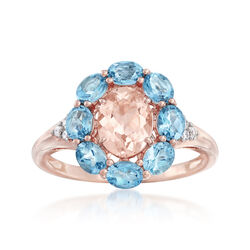 1.10 Carat Morganite and 1.30 ct. t.w. Santa Maria Aquamarine Ring With Diamonds in 14kt Rose Gold, , default