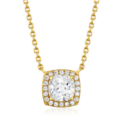 1.80 ct. t.w. CZ Square Pendant Necklace in 18kt Gold Over Sterling
