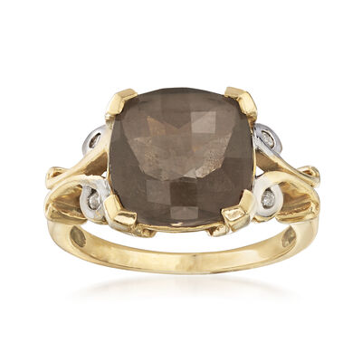 C. 1980 Vintage 4.00 Carat Smoky Quartz Ring with Diamond Accents in 14kt Yellow Gold, , default