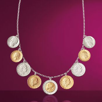 Italian Genuine Lira Coin Necklace in Sterling Silver, , default