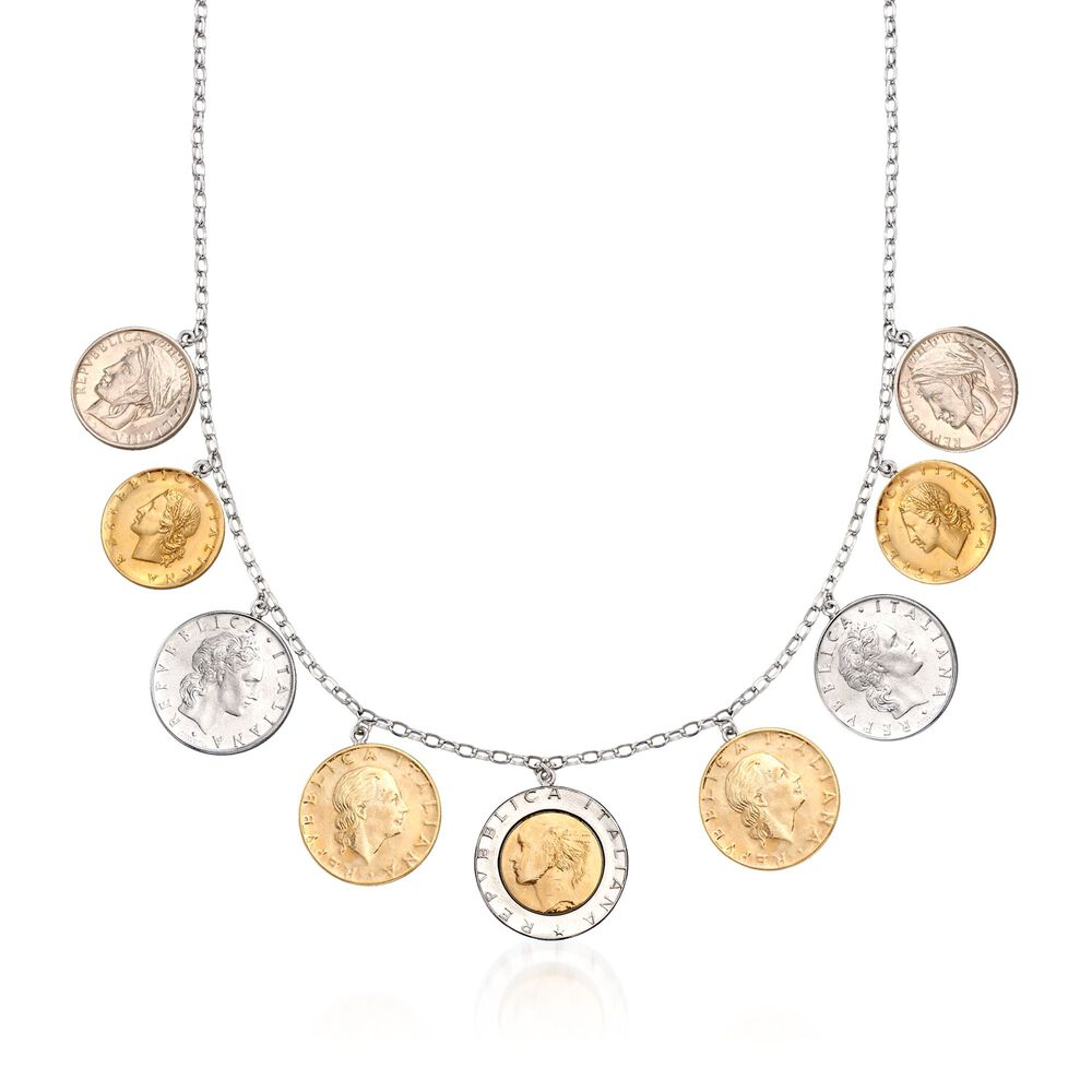Lira Coin Necklace In Sterling Silver