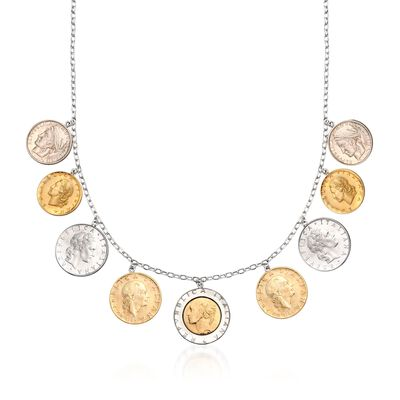 Italian Genuine Lira Coin Necklace in Sterling Silver
