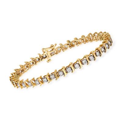 C. 1990 Vintage 3.00 ct. t.w. Diamond Tennis Bracelet in 14kt Yellow Gold, , default