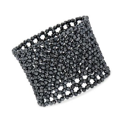 Hematite Bead Wide Stretch Bracelet, , default