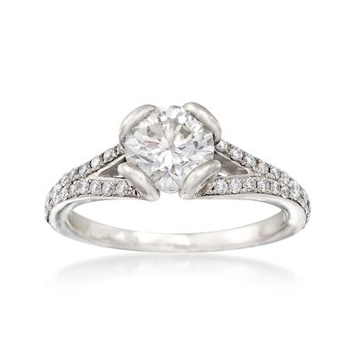 C. 2000 Vintage 1.10 ct. t.w. Certified Diamond Engagement Ring in Platinum, , default