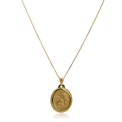 14kt Yellow Gold Heart Cupid Medal Pendant Necklace, , default