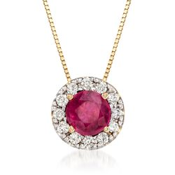".60 Carat Ruby and .18 ct. t.w. Diamond Pendant Necklace in 14kt Yellow Gold. 18"", , default"