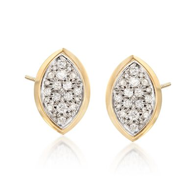 .40 ct. t.w. Pave Diamond Oval Earrings in 14kt Yellow Gold , , default