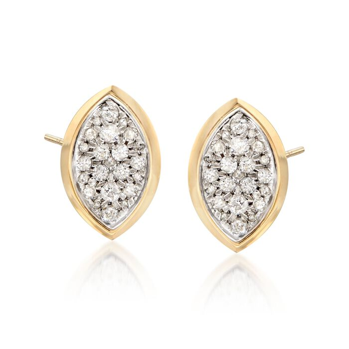 .40 ct. t.w. Pave Diamond Oval Earrings in 14kt Yellow Gold, , default