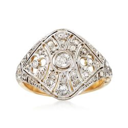 C. 1950 Vintage .52 ct. t.w. Diamond Filigree Openwork Dome Ring in Platinum and 14kt Gold. Size 5.75, , default
