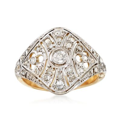 C. 1950 Vintage .52 ct. t.w. Diamond Filigree Openwork Dome Ring in Platinum and 14kt Gold, , default