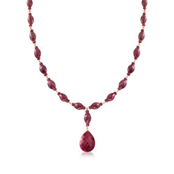 175.00 ct. t.w. Ruby Drop Necklace in 14kt Yellow Gold Over Sterling, , default