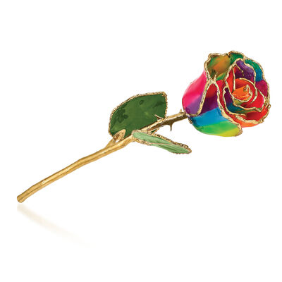 Lacquer-Dipped Gold-Plated Aurora Rainbow Rose, , default