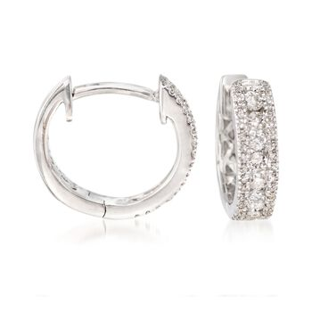 ".35 ct. t.w. Diamond Huggie Hoop Earrings in 14kt White Gold. 3/8"", , default"