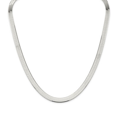 Sterling Silver 8mm Herringbone Necklace