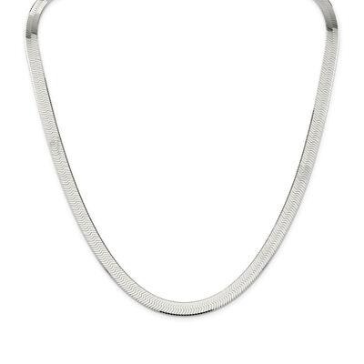 Sterling Silver 8mm Herringbone Necklace, , default