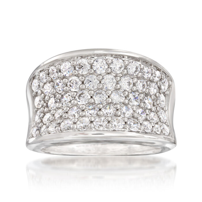 "Belle Etoile ""Lucia White"" 2.45 ct. t.w. CZ Ring in Sterling Silver"