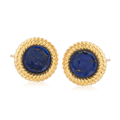 Italian Andiamo Lapis Stud Earrings in 14kt Yellow Gold Over Resin, , default