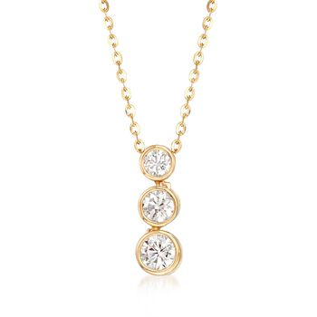 .55 ct. t.w. Graduated CZ Three-Tier Drop Necklace in 14kt Yellow Gold, , default