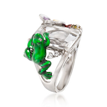 Rock Crystal and Enamel Nature Ring in Sterling Silver, , default