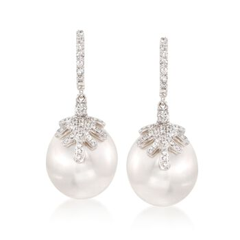 14mm Cultured South Sea Pearl and Diamond Drop Earrings in 18kt White Gold, , default
