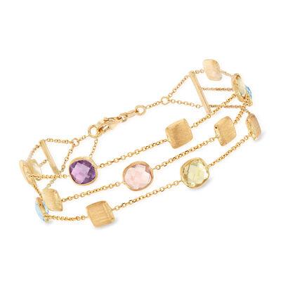 Italian 5.90 ct. t.w. Multi-Gemstone Triple-Row Station Bracelet in 14kt Yellow Gold, , default