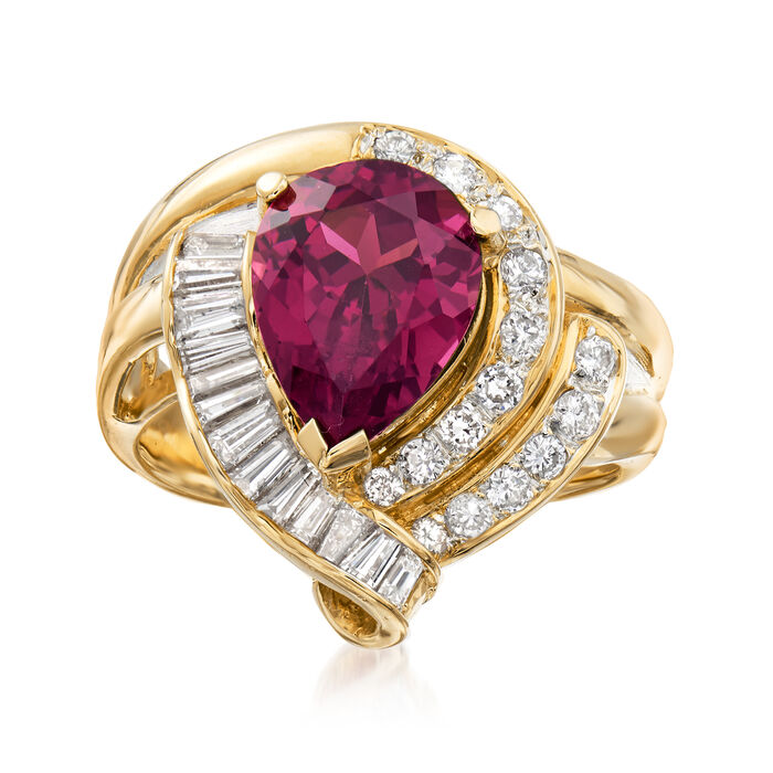 C. 1980 Vintage 3.70 Carat Pink Rhodolite Garnet and .85 ct. t.w. Diamond Ring in 18kt Yellow Gold. Size 6.5