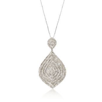 """2.95 ct. t.w. Diamond Drop Pendant Necklace in Sterling Silver. 18"""", , default"""
