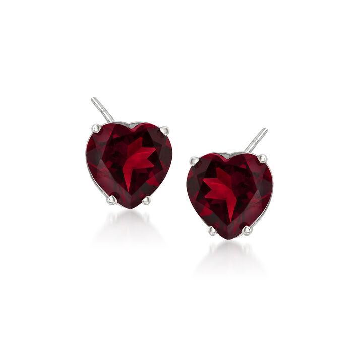 4.00 ct. t.w. Garnet Heart Stud Earrings in 14kt White Gold, , default