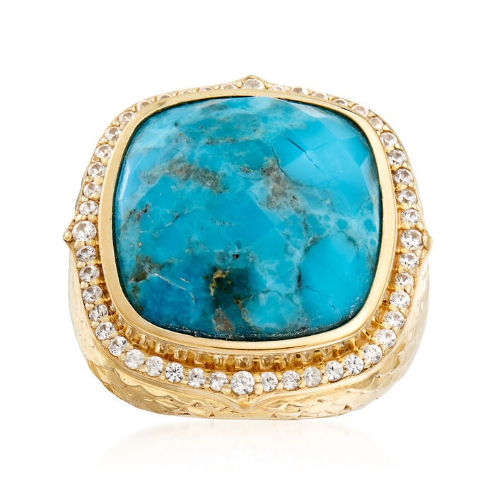 Stabilized Turquoise and .70 ct. t.w. White Zircon in 18kt Gold Over Sterling, , default