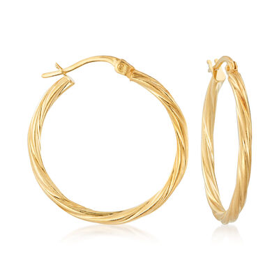 Italian 14kt Yellow Gold Twisted Hoop Earrings