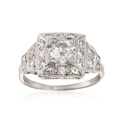 C. 1990 Vintage 1.20 ct. t.w. Certified Diamond Ring in Platinum. Size 6.5, , default