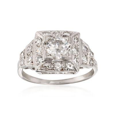 C. 1990 Vintage 1.20 ct. t.w. Certified Diamond Ring in Platinum, , default