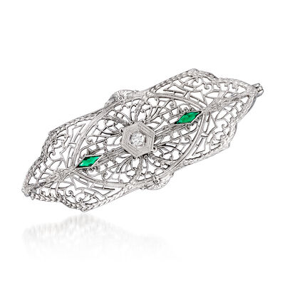 C. 1950 Vintage Green Glass Filigree Pin with Diamond Accent in 10kt White Gold