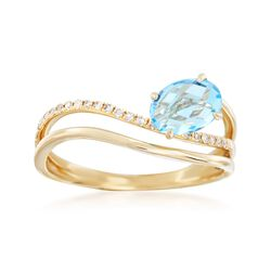 1.00 Carat Blue Topaz and .10 ct. t.w. Diamond Wave Ring in 14kt Yellow Gold, , default