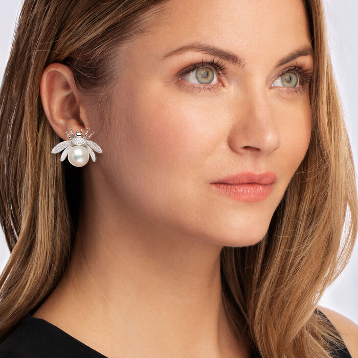 13-13.5mm Cultured Pearl and 1.60 ct. t.w. Diamond Bug Earrings in 14kt White Gold