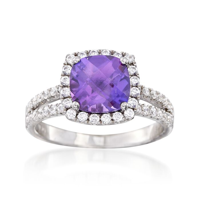 2.90 Carat Amethyst and .55 ct. t.w. CZ Split-Shank Ring in Sterling Silver. Size 9