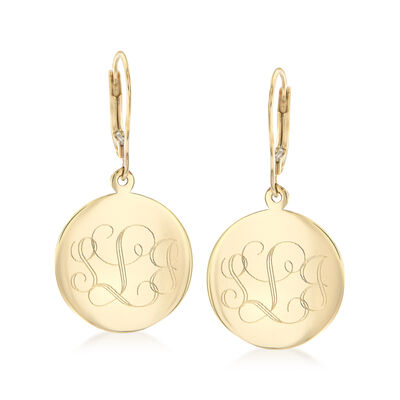14kt Yellow Gold Personalized Disc Drop Earrings